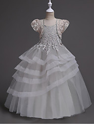 Ball Gown Ankle Length Flower Girl Dress - Organza Short Sleeves Scoop Neck with Lace Ruffles Tiered by YDN