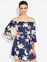 cheap -Women's Club Going out Boho Flare Sleeve Sheath Dress - Floral Backless High Rise Asymmetrical Boat Neck