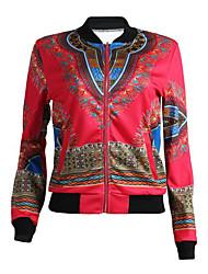 Недорогие -Для женщин Праздники Для клуба Осень Зима Куртка V-образный вырез,Простой Секси Шинуазери (китайский стиль) С принтом Короткая Другое,