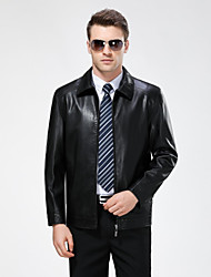 Men's Casual/Daily Simple Fall Winter Leather Jackets,Solid Shirt Collar Long Sleeve Regular Lambskin
