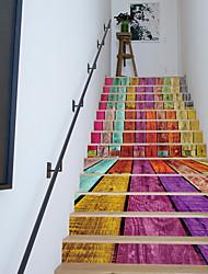 13 Pieces/Set 3D Colorful Cabin Stairs Decal Landscape Creative Corridor Floor Sticker Wooden House Stairway Sticker 18*100*13c
