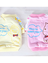 cheap -Dog Dog Clothes Cartoon Yellow / Pink Cotton Costume For Pets Summer Men's / Women's Casual / Daily