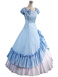 One-Piece/Dress Gothic Lolita Lolita Cosplay Lolita Dress Blue Vintage Poet Short Sleeves Floor-length Dress For Other