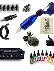 cheap -Tattoo Machine Starter Kit 1 rotary machine liner & shader Mini power supply 5 x disposable grip 5 pcs Tattoo Needles