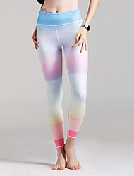 cheap -Women's Daily Sporty Legging - Solid Colored, Print Mid Waist / Spring / Summer / Fall / Sporty Look / Skinny
