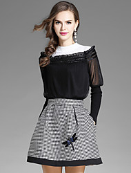 cheap -EWUS Women's Daily Going out Street chic Fall Blouse Skirt Suits,Solid Houndstooth Round Neck Long Sleeve Cotton Polyester Inelastic