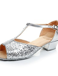 cheap -Women's Kids' Dance Shoes Sparkling Glitter Sandal / Heel / Sneaker Sparkling Glitter Chunky Heel Customizable Dance Shoes Silver /