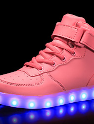 cheap -Girls' Shoes Patent Leather Customized Materials Winter Fall Comfort Light Up Shoes Sneakers Walking Shoes Lace-up Hook & Loop LED for