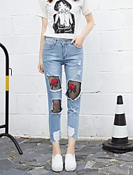 cheap -Women's High Rise Inelastic Straight Slim Jeans Pants,Sexy Street chic Solid Floral Fall