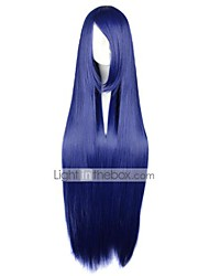 cheap -Cosplay Wigs Naruto Hinata Hyuga Blue Long / Straight Anime Cosplay Wigs 100 CM Heat Resistant Fiber Female
