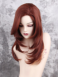 Women Synthetic Wig Capless Long Natural Wave Auburn Middle Part Layered Haircut Natural Wigs Costume Wig