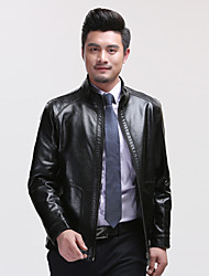 Men's Casual/Daily Vintage Fall Winter Leather Jacket,Solid Stand Long Sleeve Regular Lambskin