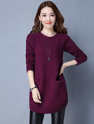 cheap -Women's Daily Long Pullover,Solid Round Neck Long Sleeves Cotton Fall Medium Micro-elastic