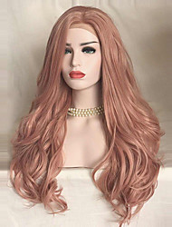 Uniwigs Damen Synthetische Lace Front Perücken Lang Wellen Rosa Natürliche Perücke Kostümperücke