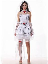 abordables -Zombie Mariée Robes Bal Masqué Femme Halloween Carnaval Le jour des morts Fête / Célébration Déguisement d'Halloween Gris Imprimé