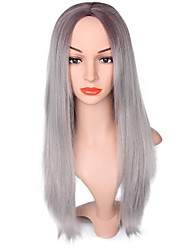 cheap -Ombre Light Grey Wigs for Black Women Long Straight Cosplay Hair
