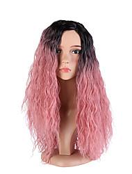 abordables -Perruque Synthétique Ondulation profonde Partie latérale Racines foncées Cheveux Colorés Rose Femme Sans bonnet Perruque de Cosplay Long