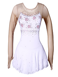 Robe de Patinage Artistique Femme Fille Robe de Patinage Blanc/Blanc Elasthanne Haute élasticité Fleur Sports Utilisation Extensible Fait