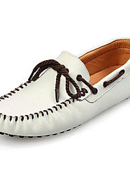 cheap -Men's Moccasin Cowhide Fall / Winter Boat Shoes White / Black / Brown / Party & Evening