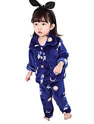 economico -Completo Da ragazza Cotone Animal Cartoni animati Inverno Maniche lunghe Cartone animato Royal Blue
