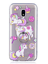 For Case Cover Ring Holder Transparent Pattern Back Cover Case Unicorn Soft TPU for Samsung Galaxy J7 (2016) J7 (2017) J5 (2016) J5
