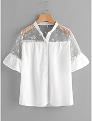 Недорогие -Для женщин На выход Рубашка Воротник-стойка,Секси Однотонный С короткими рукавами,Спандекс