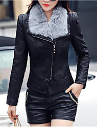 Feminino Jaquetas de Couro Para Noite Moda de Rua Inverno,Sólido Curto Cashmere Poliuretano Decote V Manga Longa