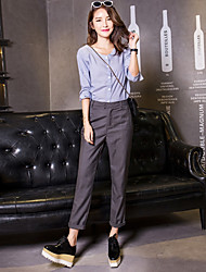 cheap -Women's Mid Rise Inelastic Harem Chinos Business Pants,Casual Solid Cotton Others Spring Summer Fall