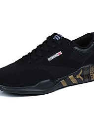 Masculino sapatos Tule Primavera Verão Conforto Tênis Caminhada Cadarço Para Casual Preto e Dourado Branco/Preto Preto/Vermelho