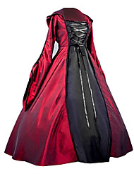 Gothic Lolita Medieval Gothic Costume Women's One Piece Dress Party Costume Masquerade Red Vintage Cosplay Plain Sateen Long Sleeves Puff