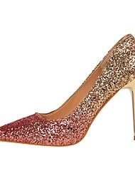 baratos -Mulheres Sapatos Courino Primavera / Outono Conforto Saltos Salto Agulha Dedo Apontado para Social Arco-íris / Vinho / Champanhe