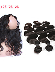 cheap -Mongolian Hair Remy Human Hair Body Wave Human Hair Weaves Four-piece Suit
