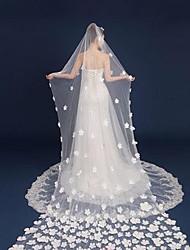 velos catedral de velo de novia de una sola capa con accesorios de boda de tul de apliques