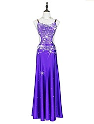 cheap -Latin Dance Dresses Women's Performance Spandex Crystals/Rhinestones Sleeveless Dress