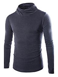 Standard Pullover Da uomo-Casual Tinta unita A collo alto Manica lunga Cotone Poliestere Autunno Inverno Medio spessore Media elasticità