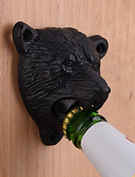 cheap -Cast Iron Metal Wall Mounted Black Bear Beer Bottle Opener Kitchen Useful Tool
