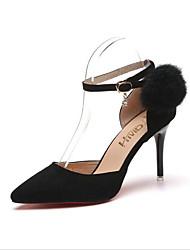 abordables -Mujer Zapatos Cuero/Piel Terciopelo Verano Otoño Confort Suelas con luz Tacones Dedo Puntiagudo Pluma Hebilla Pompón Para Vestido Negro