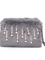 cheap -Women Bags Fur Crossbody Bag Zipper for Casual Outdoor All Seasons Red Blushing Pink Gray Dark Green Sky Blue