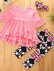 cheap -Girls' Solid Geometic Clothing Set, Cotton Polyester Spring Fall Half Sleeves Ethnic Style Coats Pants Bottoms Casual/Daily Adorable