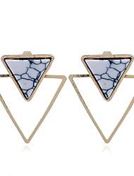 abordables -Mujer Turquesa Geométrico Pendientes cortos - Chapado en Oro Personalizado, Punk Oro / Blanco Para Regalo / Casual