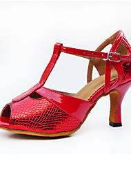 Women's Latin Synthetic Microfiber PU Heel Indoor Buckle High Heel Red Customizable