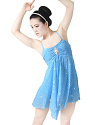 cheap -Ballet Dresses Sequins Women's Children's Performance Elastic Sequined Lycra Pleated Crystals/Rhinestones Paillette Sleeveless High