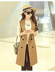 cheap -Women's Daily Going out Street chic Winter Fall Vest,Solid Peaked Lapel Long Sleeve Long Polyester