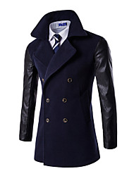 cheap -Men's Daily Plus Size Simple Vintage Casual Winter Fall Coat,Solid Stand Long Sleeve Long Cotton Polyester