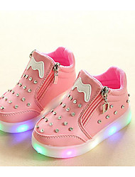 Girls' Shoes Leatherette Winter Fall Comfort Sneakers For Casual White Black Red Pink