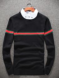 Недорогие -Муж. Однотонный Пуловер, Повседневные На выход Длинный рукав Круглый вырез Шерсть Зима Осень