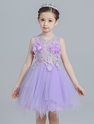 Princess Knee Length Flower Girl Dress - Tulle Sleeveless Jewel Neck with Appliques Flower(s) by Bflower