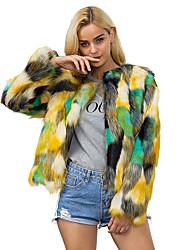 Women's Casual/Daily Work Simple Fall Winter Fur Coat,Color Block Round Neck Long Sleeve Regular Rabbit Fur Raccoon Fur