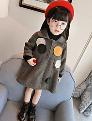 cheap -Girls' Print Jacket & Coat,PU Cotton Winter Fall Long Sleeve Gray