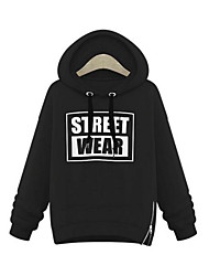Women's Holiday Casual/Daily Hoodie Letter Hooded Inelastic Polyester Long Sleeve Fall Winter
